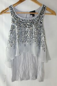 Next Signature Grey & Silver Sequin Party Sleeveless Top Age 11 146cm