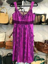 NANETTE LEPORE Purple 100% Cotton Embroidered Sun Dress Sz 10 $365
