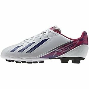 New Adidas Women's F5 TRX GF Low Soccer White, Pink, and Purple Size 7.5
