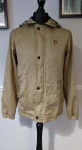 Lyle and Scott Beige / Tan Cotton Jacket Overcoat w Peaked hood - UK Men's Small