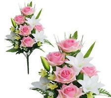 "Pink White Poly Silk Memorial Rose Lily Flower 20""Bouquet Cemetery"