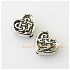 15Pcs Antiqued Silver Tone Chinese Knot Heart Spacer Beads Charms 6.5x7.5mm
