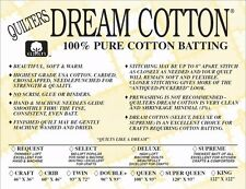 Quilters Dream Batting Natural Cotton Supreme~Heaviest Loft~King Size