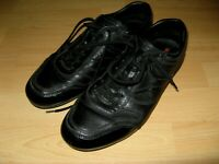 HARDLY USED MENS AUTHENTIC BLACK LEATHER PRADA LACE UP TRAINERS SHOES 8 UK 42 EU