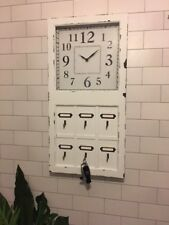 Clock Industrial Key Hooks Storage Distressed White Wooden Metal Inserts Cards