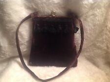 Vintage metal frame shoulder bag/purse brown velvet gold tone clasp closure