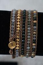 NEW Chan Luu Quartz Jade Green Semi Precious Stone Gold Vermeil 5 Wrap Bracelet