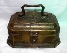 Indian Antique Hand Crafted Brass Betel Nuts Box Old Collectible Brass Box