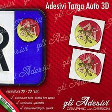 2 Adesivi Stickers bollino 3D Resinato targa Auto Moto Regione SICILIA Trinacria