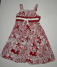 BONNIE JEAN RED & WHITE FLOWER RIBBON SUN DRESS GIRLS 8 COTTON
