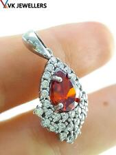 STERLING 925 SILVER WHITE GOLD PLATED GARNET PENDANT TURKISH JEWELRY C36