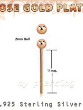 2pc. 22g - 2mm Ball 18K Rose Gold Plating 925 Sterling Silver Straight Nose Stud