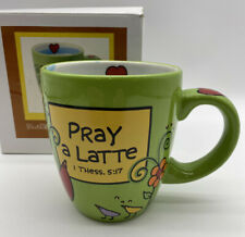New listing Enesco Our Name is Mud Pray a latte Bible Verse Coffee Mug 16 Ounce New
