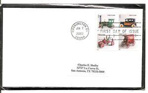 US Scott # 3626-3629 Antique Toys FDC. No Cachet