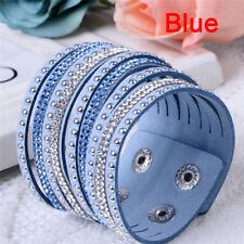 1x Women Fashion Punk Jewelry Leather Crystal Wrap Cuff Bangle Charm Bracelet Dark Blue
