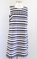 NWT J Crew Striped Scalloped Trim Grommet Shift Dress Size 8 Sleeveless Blue