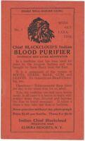 Vintage Chief Blackcloud's Indian Blood Purifier Patent Medicine Label Elmira NY