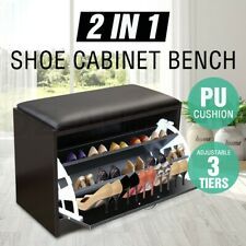 15 Pairs Wooden Shoe Cabinet Storage Footwear Stand With PU Cushion Bench
