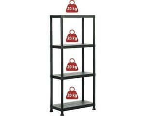 Black 4 Tier Plastic Shelving Unit Storage Racking Shelves Garage Warehouse Shed