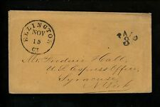 US Postal History Stampless Cover 1850's 3 cent Ellington CT Express Syracuse NY