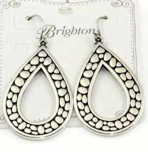 Brighton Jewelry Pebble Open Teardrop Reversible Earrings NEW W/Fabric Pouch