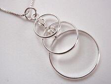 Triple Circles Necklace 925 Sterling Silver Corona Sun Jewelry