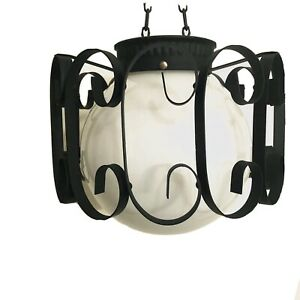 MID CENTURY MODERN MILK GLASS - Ceiling Mount Pendant Light Fixture Black White