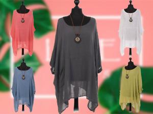 NEW Ladies Cotton Boho Top PLAIN Lagenlook Womens Dress Shirt Plus Size Tunic