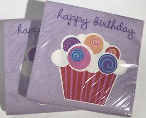 Happy Birthday Party 32ct Cupcake Beverage Dessert Napkins Lavender Celebrations