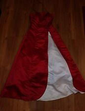 Princess Dress Red White Embroidered Satiny Formal Pageant Prom Gown erc-f