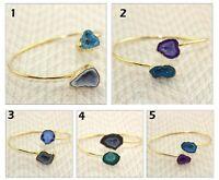 Hot Natural Geode Druzy Gold Plated Adjustable Bangle Bracelet Gemstone Jewelry
