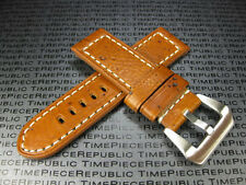 24mm NEW MOON COW LEATHER STRAP Watch Band Pam 1950  Gold Brown 24