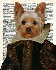 Shakespeare Yorkie Art Print 8 x 10 - William Shakespeare Yorkshire Terrier Dog