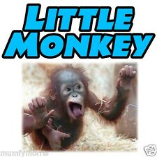 Pequeño mono azul bebé niños niños A5 En Hierro T Shirt transferencia