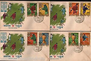 BHUTAN 1968 MEXICO OLYMPIC FOOTBALL STAMPS FDC FIRST DAY COVER COMPLETE SET RARE