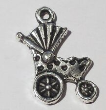 25 Antique Silver Baby Pram Metal Charms Christening Favours b03871