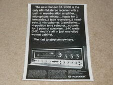 Pioneer Sx-9000 Receiver Ad, 1971, 1 pg, Article, Features, Rare Ad!