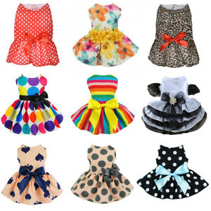 Lovely Pet Dog Dress Skirt Puppy Princess Costume Apparel Summer Bow Cat Clothes