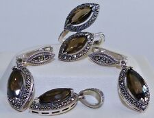 GENUINE! 12.2tcw Smoky Quartz & Marcasite S/Silver 925 Set Pendant/Earrings/Ring
