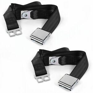 Desoto 1946 - 1961  Airplane 2pt Black Lap Bucket Seat Belt Kit - 2 Belts street