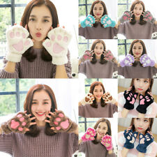 Women Girl Cat Claw Paw Gloves Cute Plush Winter Warm Short Half Finger Mitten