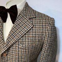 Wool HARRIS TWEED Blazer Jacket Suit Sport Coat Plaid Vtg 60s 70s MENS LARGE