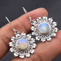 SOLID BALI STYLE-RAINBOW MOONSTONE 925 Sterling Silver Gemstone Dangle Earrings