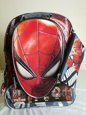 """Spiderman 2 Lunch Box Kit Tote NEW Spiderman Molded Chest 12/""""  Backpack"""