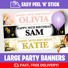 PERSONALISED BIRTHDAY PARTY BANNERS CHAMPAGNE 18th21st30th40th +Design Service