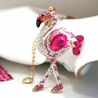 Betsey Johnson Pink crystal enamel Flamingo pendant Necklace#546L