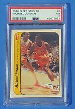 MICHAEL JORDAN 1986 Fleer basketball ROOKIE Sticker card graded PSA 7 Bulls RC