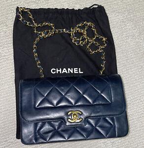 Chanel Sac Cuir Métis Navy & Gold Vintage Classic Flap Bag - Great Condition