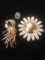 (3) Vintage Avon Products Brooch Distributor Pin Enamel Sterling Silver