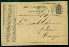 Norway 1888 Military card tied Bergen to Harvanger, Vf
